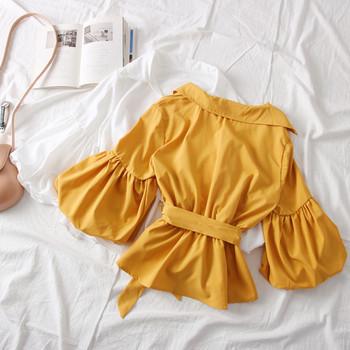 Нов модел дамска риза с класическа яка,колан и широки ръкави в няколко цвята