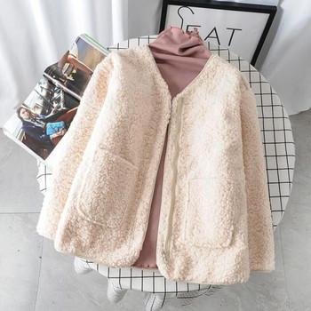 Модерно дамско пухено палто с джобове и дълъг ръкав в три цвята
