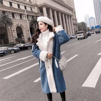 Дамско зимно  пухено палто с шпиц деколте в син ,бежов и черен цвят