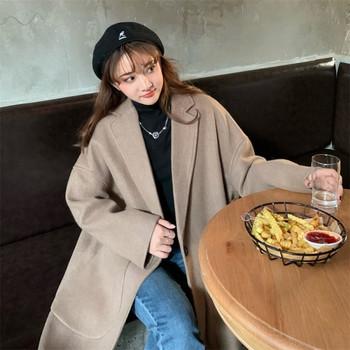 Дълго широко палто с джобове в бежов и черен цвят