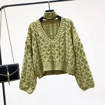 Нов  дамски пуловер с шпиц деколте - къс модел в няколко цвята