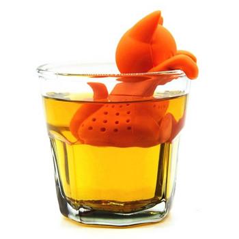 Силиконов инфузер за бързо и лесно приготвяне на чай във формата на коте в оранжев цвят