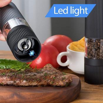 Автоматична мелница за сол и пипер с LED светлина и регулируемост на смилането в черен цвят