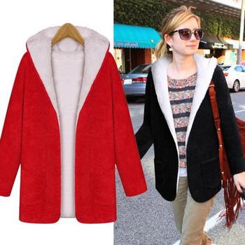 Ежедневно дамско дълго палто с качулка и мека подплата в черен и червен цвят