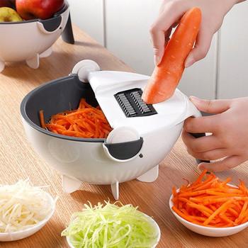 Многофункционално ренде за тънко рязане на зеленчуци от пет части в бял цвят