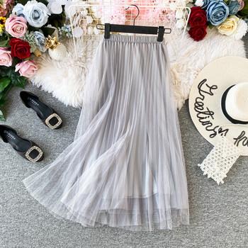 Модерна дамска пола от тюл с висока талия в различни цветове