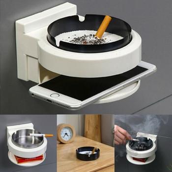 Многофункционален пепелник за монтиране на стена от неръждаема стомана с място за телефон
