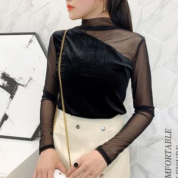 Дамска елегантна блуза с тюл в няколко цвята от кадифе