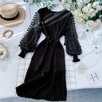 Модерна дамска дълга рокля с широк ръкав и колан в розов,сив и черен цвят