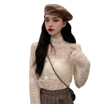 Дамска модерна дантелена блуза с висока яка
