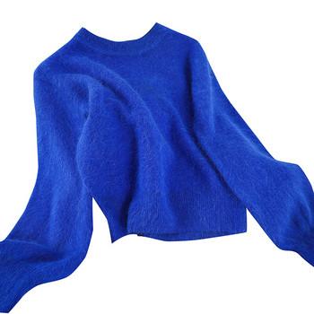 Нов модел дамски пуловер в четири цвята с овално деколте и дълъг ръкав