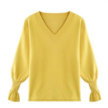 Нов модел дамски пуловер с лотос ръкави и шпиц деколте в бял,черен,жълт и червен цвят