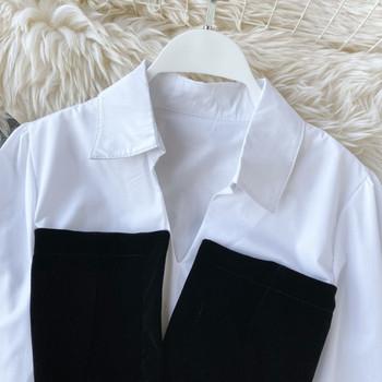 Модерен дамски комплект от две части с колан в черен цвят