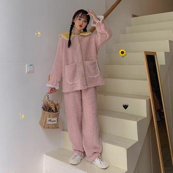 Дамска актуална пижама в розов и син цвят