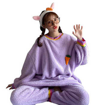 Дамска пижама широк модел в лилав цвят