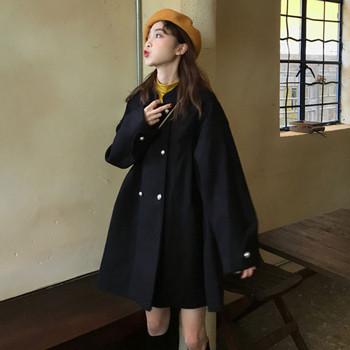 Дамско модерно палто в черен цвят широк модел