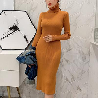 Ежедневна дамска рокля с поло яка и цепки в няколко цвята