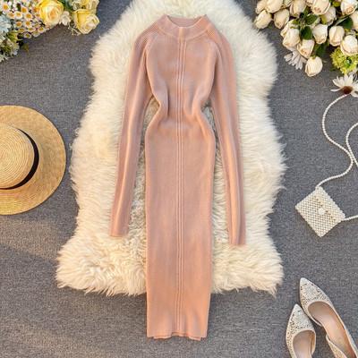 Ежедневна дамска рокля с дълъг ръкав и ниска яка