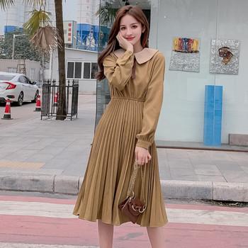 Модерна дамска рокля разкроен модел в два цвята с дълъг ръкав