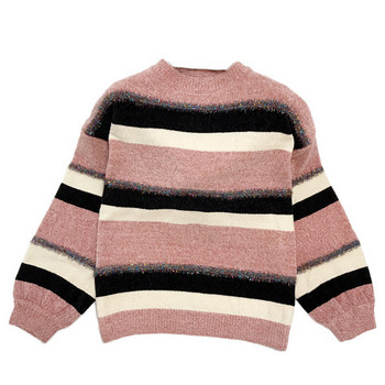 Раиран дамски пуловер с О-образно деколте в розов,черен и син цвят