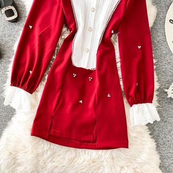 Дамска рокля асиметричен модел с класическа яка и дълъг ръкав в черен и червен цвят