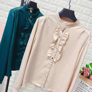 Официална дамска риза с копчета и обло деколте в няколко цвята