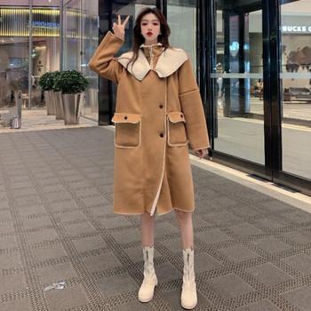 Дълго есенно-зимно палто с топла подплата в кафяв цвят