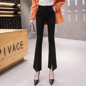 Актуален дамски панталон в черен цвят с висока талия и джобове