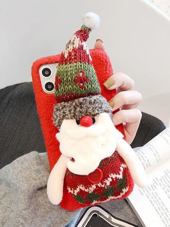 Коледен калъф за Iphone 11 Pro Max с 3D елемент дядо Коледа и снежен човек - четири модела