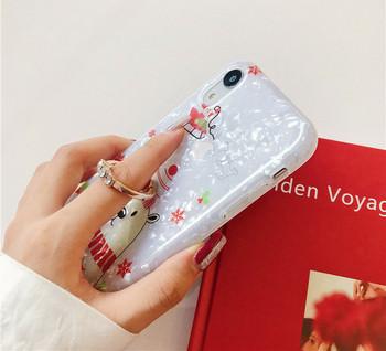 Силиконов калъф с коледен мотив,елен и мече + метален пръстен за Iphone XR