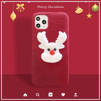 Пухен коледен калъф с 3D елемент елен в бордо цвят  за Iphone 11 Pro Max