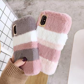 Пухен раиран калъф за  Iphone X/XS в сив и розов цвят