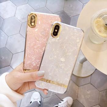 Силиконов калъф с лъскав ефект и надпис в бял и розов цвят за  Iphone X/XS