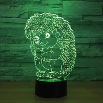 Акрилна 3D настолна лампа със седем променящи се LED светлини с дизайн на таралеж