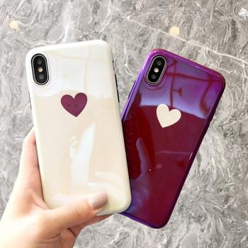 Силиконов калъф за  Iphone X/XS  със сърце в бежов и бордо цвят