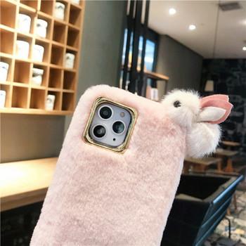 Пухен калъф за Iphone 11 Pro Max с 3D елемент заек в розов и зелен цвят