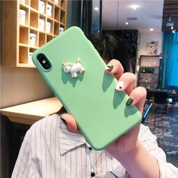 Силиконов калъф с 3D елемент еднорог за Iphone X/XS в оранжев и  зелен цвят