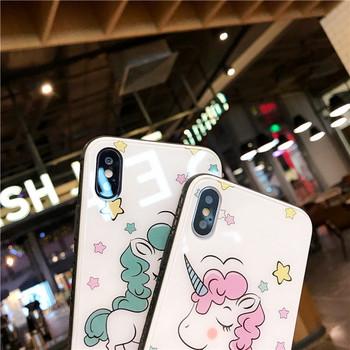 Калъф за  Iphone X/XS с еднорог  в розов и зелен цвят