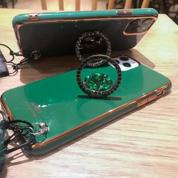 Силиконов калъф + пръстен и аксесоар пух в зелен и сив цвят за Iphone 11 Pro Max