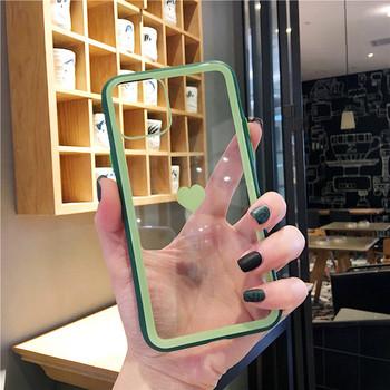 Силиконов калъф за Iphone 11 Pro Max със сърце на гърба в няколко цвята - подходящ за двойки