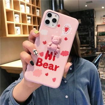 Калъф с надпис Hi Bear и 3D елемент мече за  Iphone 11 Pro Max в розов и син цвят