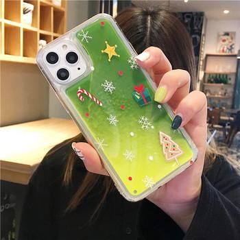 Коледен калъф с течен цветен пясък за Iphone 11 Pro Max в зелен и оранжев цвят