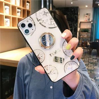 НОВ модел калъф с огледално стъкло на гърба + пръстен в бял и бежов цвят за Iphone 11 Pro Max