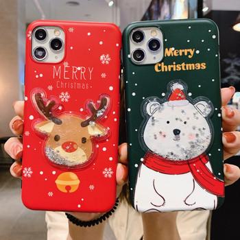 Коледен калъф с надпис Merry Christmas и 3D елемент мече и елен за Iphone 11 Pro Max