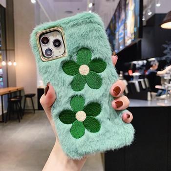 НОВ пухен калъф с бродерия цветя в зелен и син цвят за Iphone 11 Pro Max