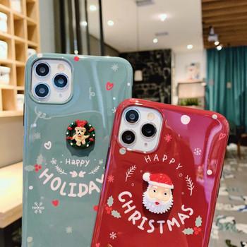 Коледен модел с надпис Happy Holidays и 3D елемент дядо Коледа и мече за Iphone 11 Pro Max