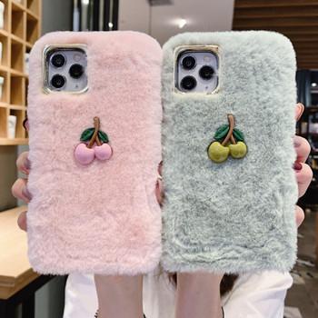 Пухен калъф с 3D елемент череша в розов и зелен цвят за Iphone 11 Pro Max
