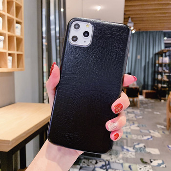 Твърд кожен калъф за Iphone 11 Pro Max в черен и кафяв цвят