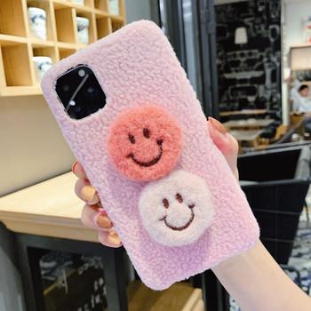 Пухен калъф с 3D елемент на гърба в бял и розов цвят за Iphone 11 Pro Max