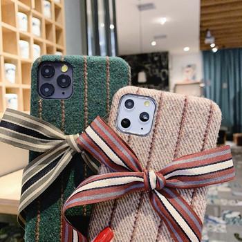 Калъф за Iphone 11 Pro Max с панделка на гърба в зелен,бежов и сив цвят